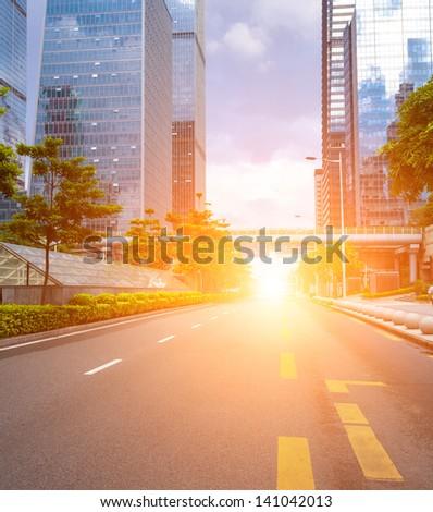Road to urban city - stock photo