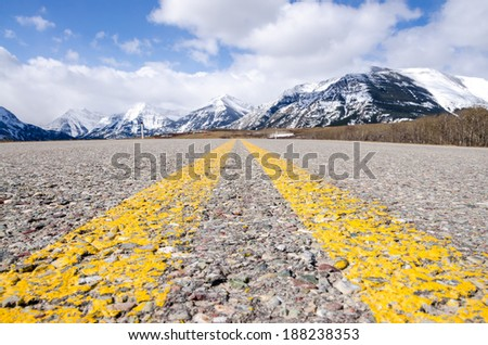 Road to Waterton Provincial Park - stock photo