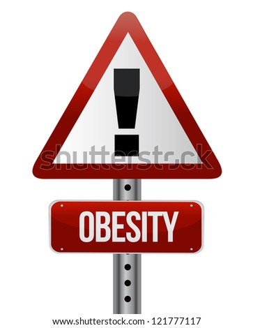 road traffic sign with an obesity concept illustration design - stock photo
