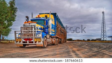 Road train, Australia - stock photo