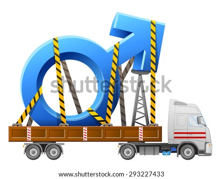 Road transportation of male symbol. Big man sign in back of truck. Qualitative illustration about man biology and health, male psychology (father, son), sex differences, gender role, etc - stock photo