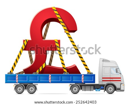 Road transportation of pound sterling symbol. Big sign of money in back of truck. Qualitative illustration for banking, financial industry, money, economy, accounting, etc - stock photo