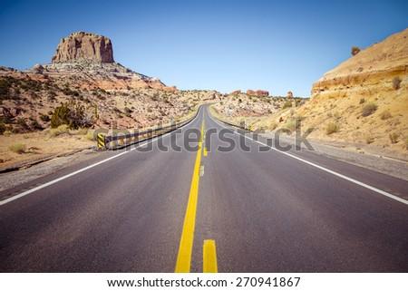 Road trip in Arizona desert, USA - stock photo