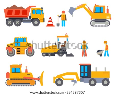 Road under construction flat icons - stock photo