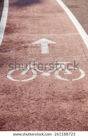 road with bicycle sign  - stock photo