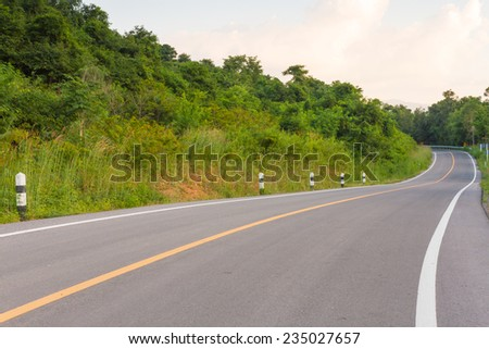 Road with curves in the mountain of Thailand  - stock photo