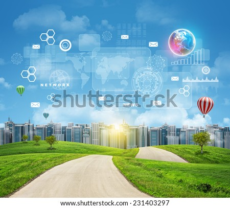 Road with green grass. Buildings and Earth with virtual elements as backdrop. Business concept. Elements of this image furnished by NASA - stock photo