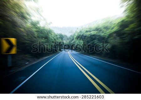 Road with motion blur zoom speed.  - stock photo