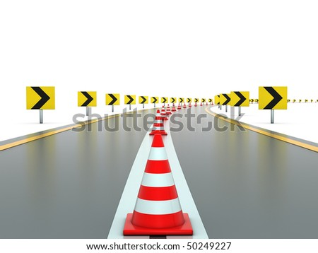 Road with signs and traffic cones - stock photo