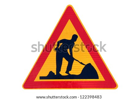 Road work traffic sign isolated over white. - stock photo