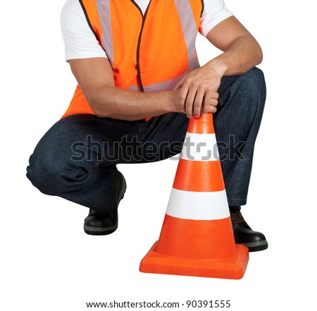 road worker closeup with orange posts isolated on a white - stock photo