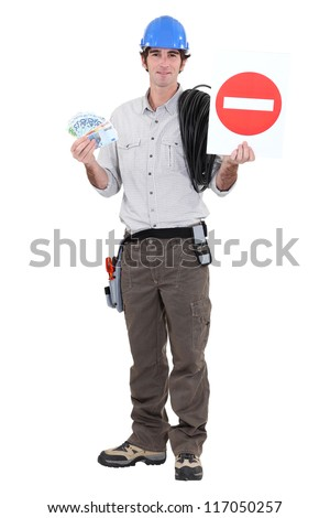 road worker holding a traffic sign and bills - stock photo