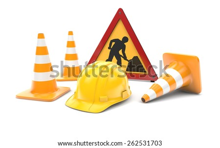 Road works, traffic cones and sign isolated with clipping path on white - stock photo