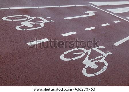 Roadmarking bicycles - stock photo