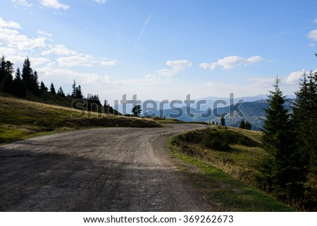 Roads and mountains in Georgia - stock photo