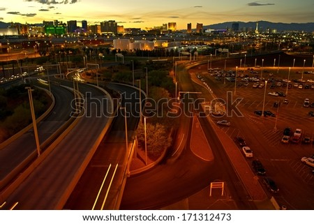 Roads of Las Vegas. Las Vegas Cityscape at Dusk. Las Vegas, Nevada, United States. - stock photo