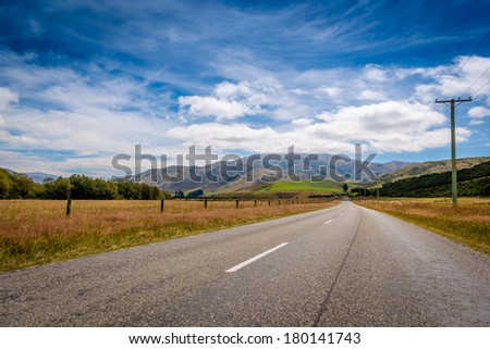 Roads through New Zealands alps - stock photo