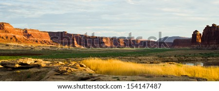 Roadside scenery in Utah at the northern end of the Glen Canyon Recreation Area - stock photo