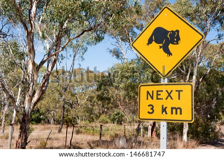 Roadside sign warning of Koalas within the area. - stock photo