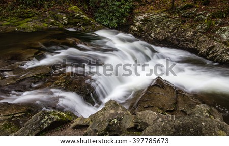 Roadside Waterfall In The Great Smoky Mountains. Easily accessible roadside waterfall in the Great Smoky Mountains National Park. Meigs Falls is on Little River Road outside of Gatlinburg, Tennessee. - stock photo