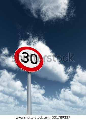 roadsign speed limit thirty under cloudy blue sky - 3d illustration - stock photo