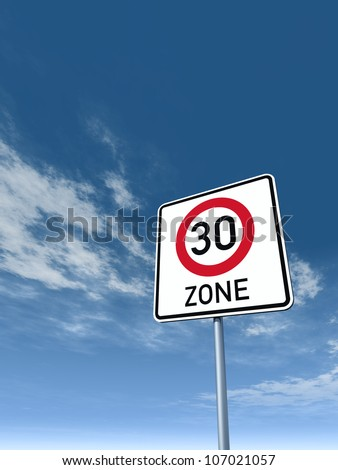 roadsign thirty area under cloudy blue sky - 3d illustration - stock photo