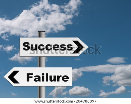 Roadsign to the future - you decide success or failure. - stock photo