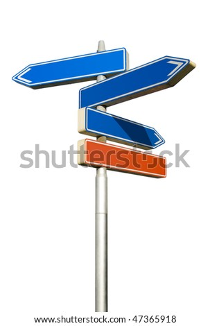 Roadsign with empty direction arrows isolated on white background (with clipping path) - stock photo
