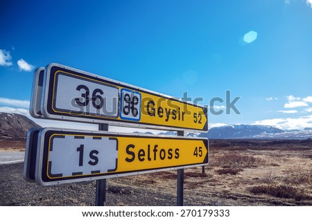 Roadsigns in Iceland - stock photo