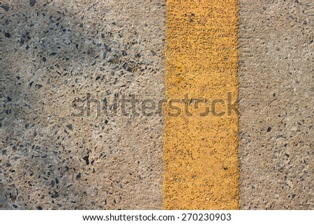 Roadway divider yellow line  - stock photo