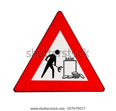 Roadworks at banks in the euro zone: more money - stock photo