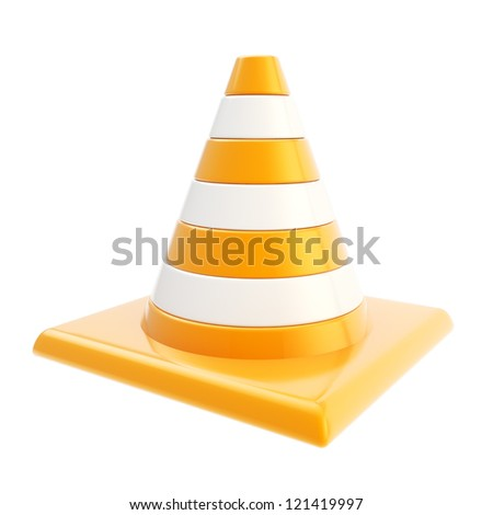 Roadworks orange glossy cone isolated on white background - stock photo