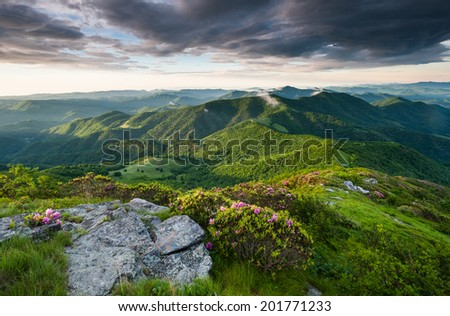 Roan Highlands Southern Appalachian Mountain Scenic along the Appalachian Trail near the state borders of North Carolina and Tennessee - stock photo