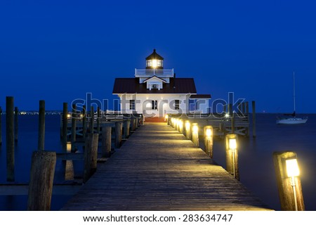 Roanoke Marshes Lighthouse at Twilight - Outer Banks, North Carolina - stock photo
