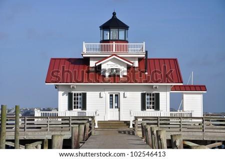 Roanoke Marshes Lighthouse in Roanoke Island, Manteo, North Carolina, USA - stock photo