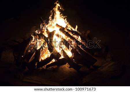 Roaring camp fire in the bush, South Africa - stock photo