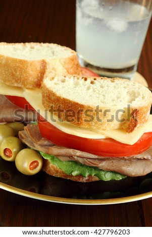Roast beef sandwich - stock photo