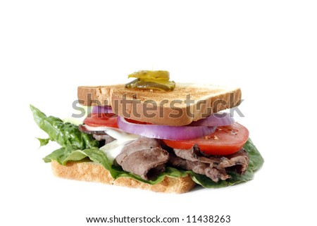 Roast beef sandwich isolated over white background - stock photo