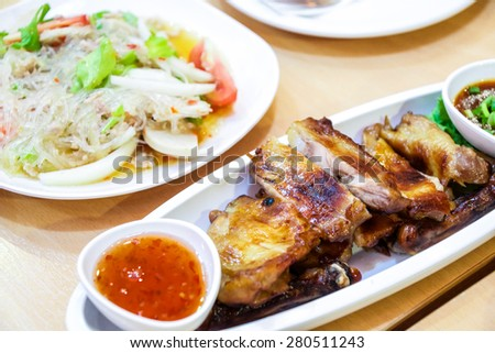 Roast chicken and Spicy noodle salad - stock photo