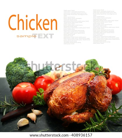 Roast Chicken isolated on white background with copy space - stock photo