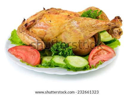 Roast Chicken on dish - stock photo