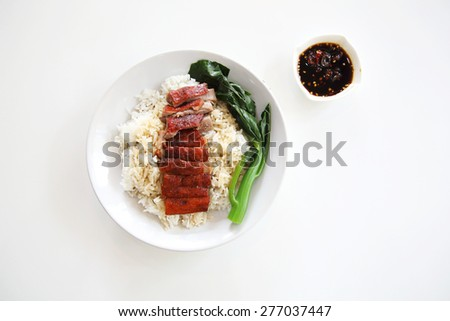 roast duck over rice - stock photo
