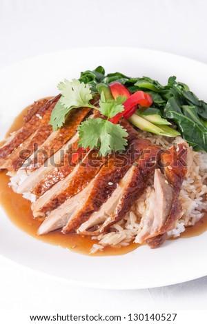 roast duck with rice. - stock photo