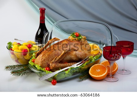 Roast Goose In Glass Baking Pan - stock photo