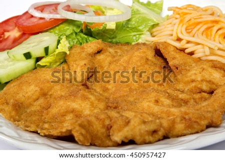 Roast milanesa of Chicken meat with vegetables - stock photo
