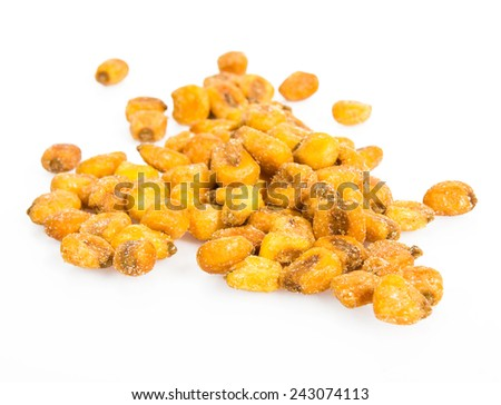 Roast salted maize grain isolated on white - stock photo
