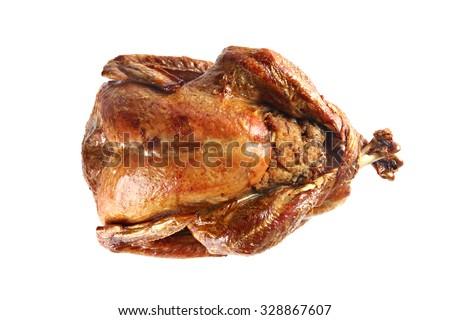 Roast turkey isolated on white background, shallow focus - stock photo