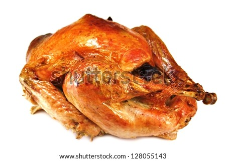 roast turkey on white background - stock photo