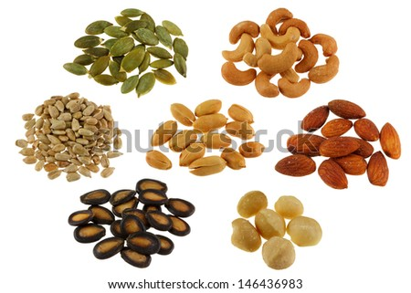 Roasted and Salted Pumpkin seeds, Cashew Nuts, Sunflower seeds, Peanuts, Almonds, Watermelon seeds, macadamia - stock photo