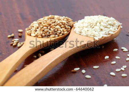 Roasted and white sesame seeds on wooden spoons - stock photo
